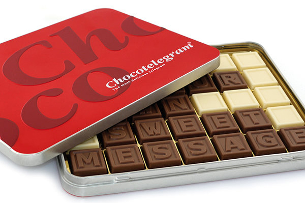 Chocotelegram blik 35 letters | Barry Callebaut chocolade | UTZ
